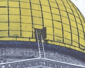 """Etching """"Dome of the Rock"""", Etching with chine colle, Etching Dome of the Rock"""