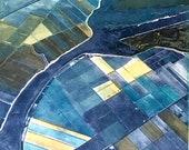 Above the Fruited Plain, monoprint, unique, aerial, landscape, stencil, transparent inks