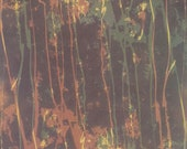 Meandering: multiple color etching, abstract, square, solarplate, purple, yellow, green, monotype, unique, one of a kind