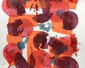 Going in Circles, silkscreen, abstract, multiple colors, layered colors, stencil silkscreen
