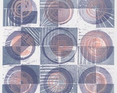 For Jacquie III: geometric, abstract, block print series, purple