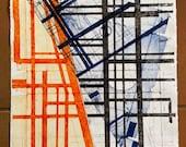 Point of Departure, rectangular, monoprint, unique, geometric, abstract, maps