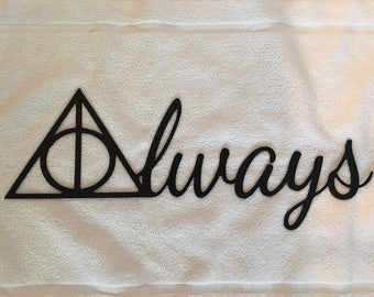"""Metal Wall Sign """"ALWAYS"""" (Harry Potter Deathly Hallows)"""