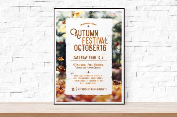 diy printable fall festival flyer template word flyer etsy