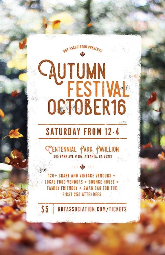 diy printable fall festival flyer template word flyer etsy