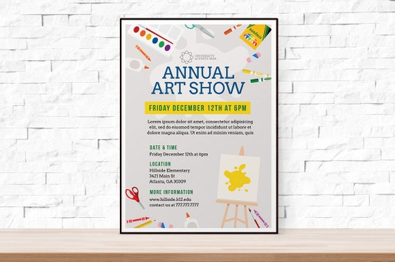 diy printable school art show flyer template word flyer etsy