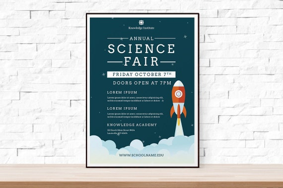 diy printable school science fair flyer template word flyer etsy