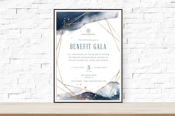 diy printable gala benefit dinner event flyer template for etsy