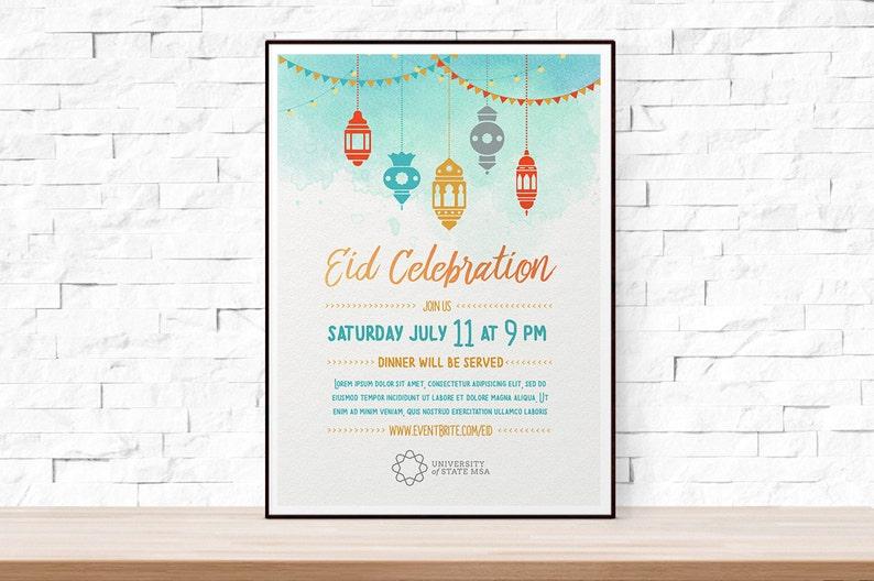 Diy Printable Eid Mubarak Flyer Template Microsoft Word Flyer Etsy