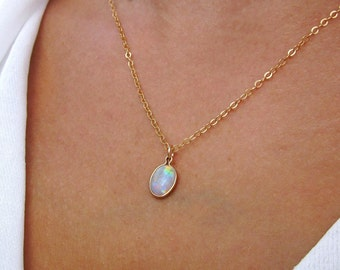 Opal Necklace, Gift for Her, October Birthstone, Opal Jewelry, Opal Pendant, Dainty Necklace, Elegant Necklace, Best Gifts, Ready to Ship