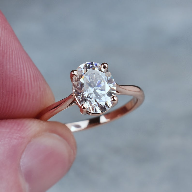 Oval Moissanite Solitaire Ring, 2 ct, 14k Gold Engagement Ring, Genuine  Moissanite, Solitaire Ring, Alternative Diamond Ring, Eco Friendly