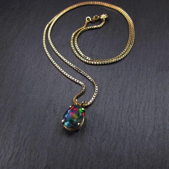 geology October birthstone terrarium white sparkly opal necklace Australian keepsake modern nature jewelry Opal gemstone pendant