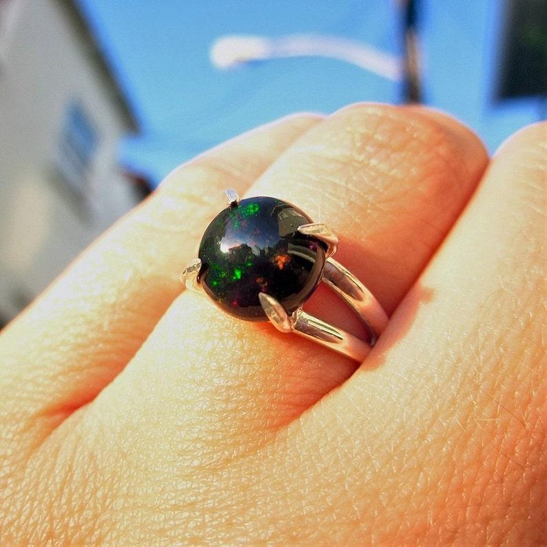 Black Opal Ring Ethiopian Opal Black Ring Big Gemstone Ring Genuine Opal Ring Statement Ring Opal Ring Promise Ring Cocktail Ring