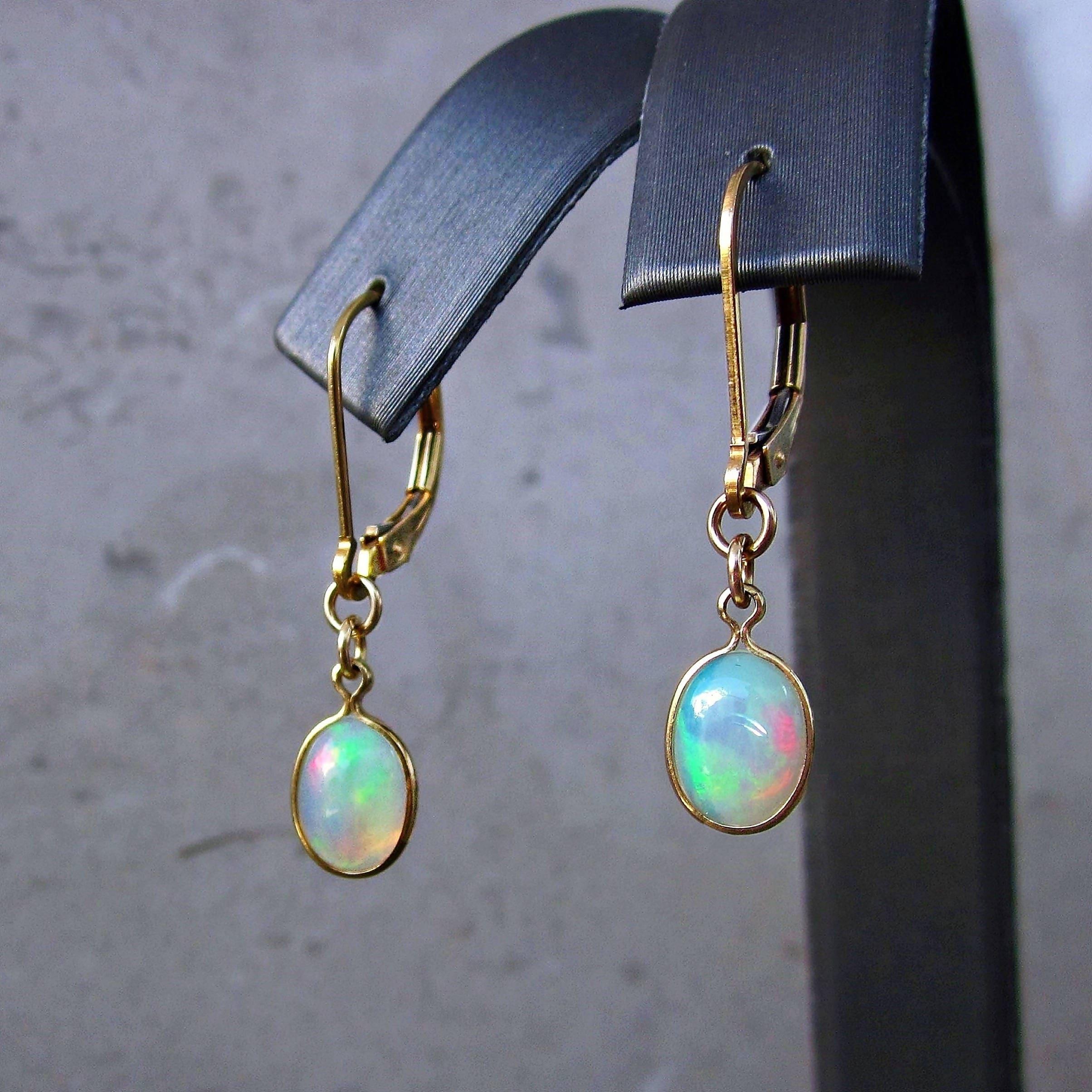 Gypsy Earrings Opal Earrings October Birthstone Boho Chic Earrings Iridescent Glass Earrings Opalite Marquise Earrings Moonstone