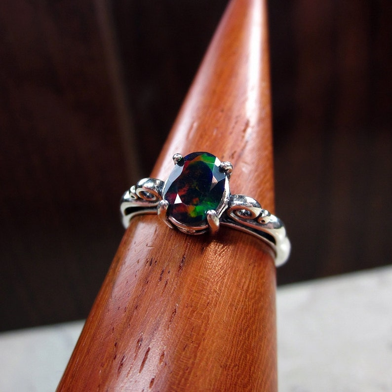 Dainty Art Deco Ring Vintage Style Opal Promise Ring Genuine Opal Beautiful Ring Dark Opal Black Opal Opal Ring Hollywood Regency