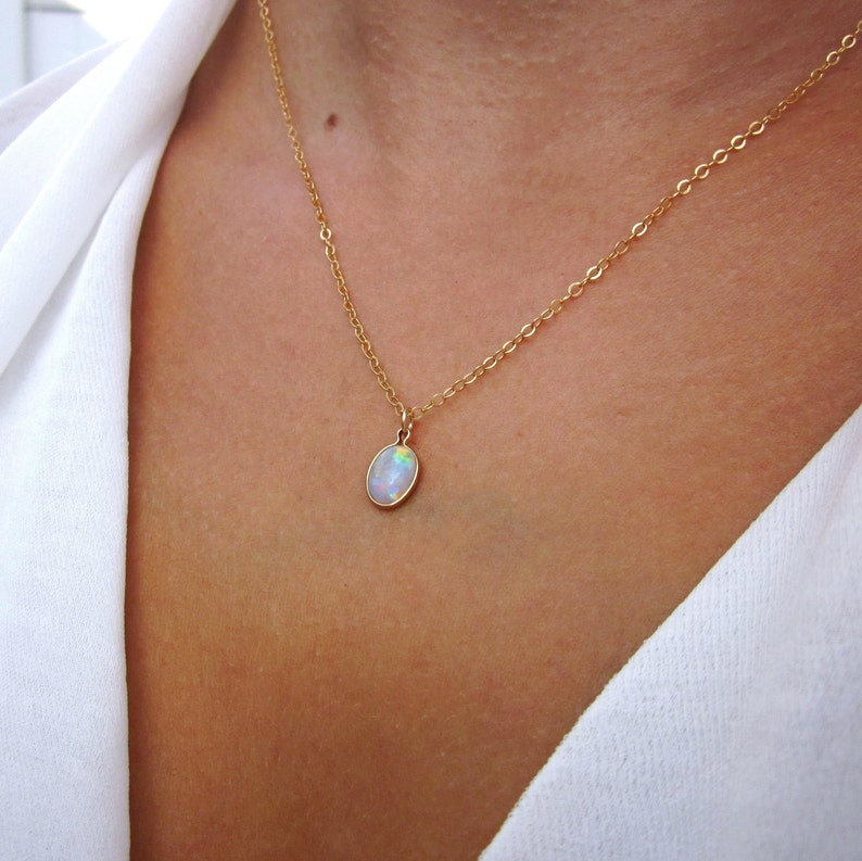 885901075 Genuine White Opal Necklace Beautiful Opal pendant October | Etsy