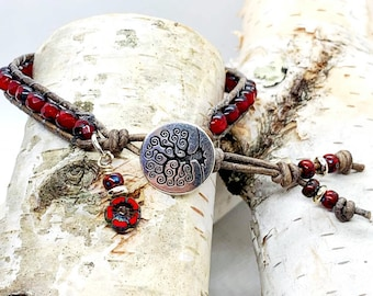 Leather Wrap Bracelet, Ruby Picasso Bead Bracelet, Boho Red Leather Wrap, Gifts For Her, Gifts Under 40, Hippie Bracelet, Ruby Red Beads