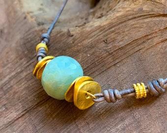 Aquamarine Choker, Gifts For Her, Beachy Jewelry, Aquamarine Necklace, Aquamarine Boho Jewelry, Gifts Under 100, Boho Jewelry,