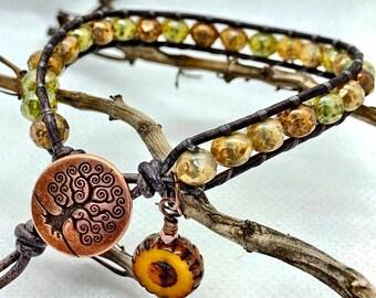 Leather Wrap Bracelet, Czech Glass Picasso Bead Bracelet, Boho Green/Brown/Tan Leather Wrap, Gifts For Her, Gifts Under 40, Boho Bracelet