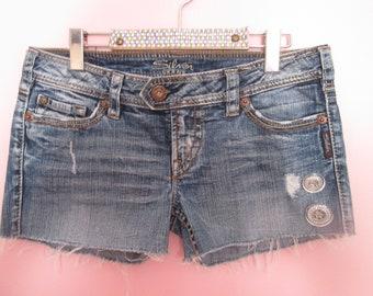 Vintage jeans Relooked Denim shorts dark / Vintage Pair of jeans Relooked dark Denim shorts