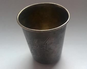 Antique Russian silver cup. Russian Empire. Vodka Cup. RARE. 1910's