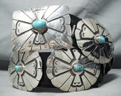 519 Gram Cross Vintage Native American Navajo Signed Turquoise Sterling Silver Concho Belt - Make An Offer