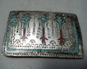 Tremendous Vintage Native American Navajo Turquoise Coral Singer Inlay Sterling Silver Buckle - Make An Offer