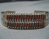 Intricate Vintage Native American Zuni Coral Needlepoint Sterling Silver Bracelet Old Cuff