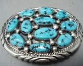 Native American Tommy Moore Signed Vintage Sleeping Beauty Turquoise Sterling Silver Buckle - Make An Offer