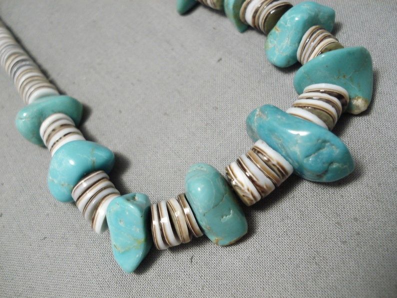 Make An Offer! Native American Amazing Vintage Santo Domingo Royston Turquoise Sterling Silver Necklace Old