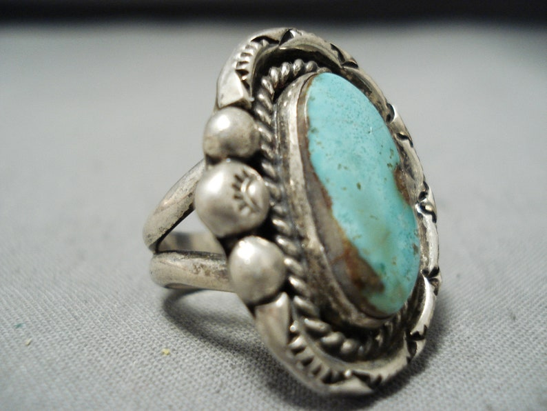 Make An Offer! Eye-catching Vintage Native American Navajo Green Turquoise Sterling Silver Ring