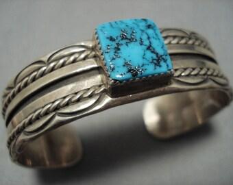 Amazing Vintage Native American Navajo Turquoise Sky Blue Sterling Silver Benally Bracelet