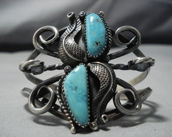 Museum Vintage Native American Navajo Swirls Galore Sterling Silver Turquoise Bracelet Old