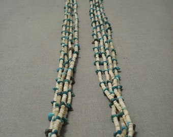 Early 1900's Santo Domingo Old Pawn Vintage Turquoise Necklace Vtg