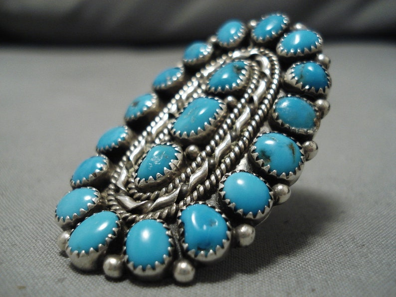 Fabulous Vintage Native American Navajo Blue Gem Turquoise Sterling Silver Ring