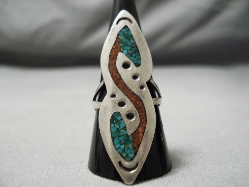 Make An Offer! Wonderful Vintage Native American Navajo Turquoise Coral Sterling Silver Ring