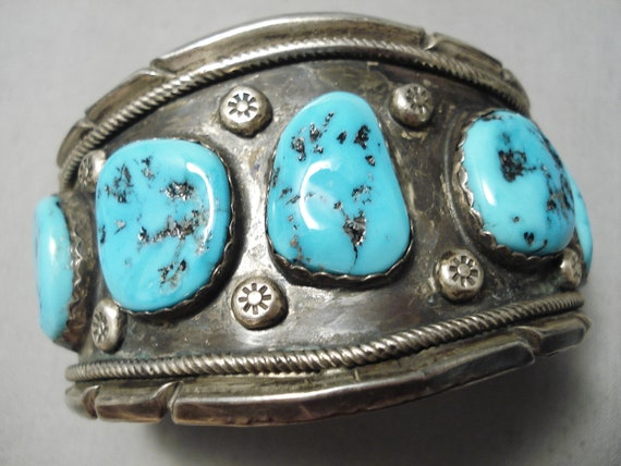 Beautiful Vintage Native American Navajo Blue Turquoise Sterling Silver Ring Old Make An Offer!