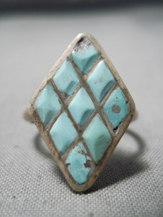 Impressive Vintage Zuni Native American Inlay Turquoise Sterling Silver Ring