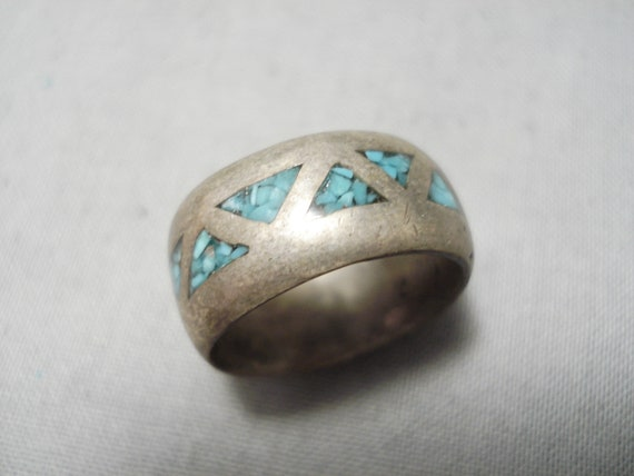 Marvelous Vintage Native American Navajo Persin Turquoise Sterling Silver Ring Old
