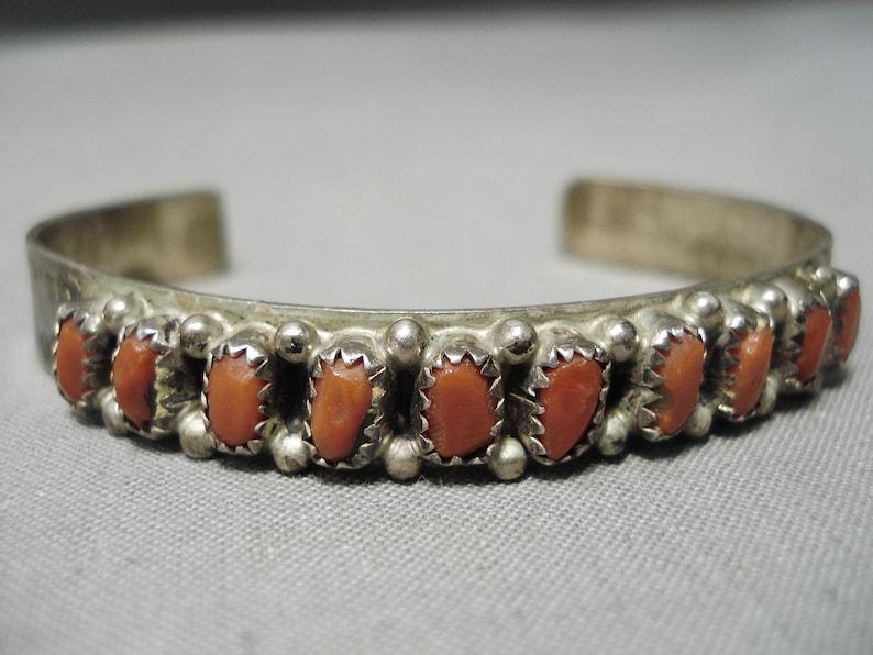 Stunning Vintage Native American Navajo Chunky Red Coral Sterling Silver Bracelet Old