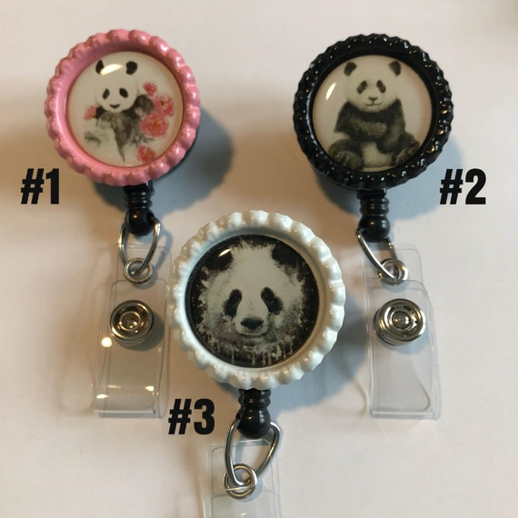 4f0a27fe2bea Panda Bear Nurse Retractable ID Badge Reel ID card holder