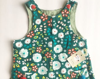 Cotton Floral Pinafore Dress in Blooming Garden