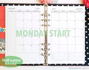 PRINTED Month on 2 page - MONDAY start - Mo2p calendar - Dated up to December 2019 - Monthly planner insert - Mon-Sun Half letter A5 - 25H