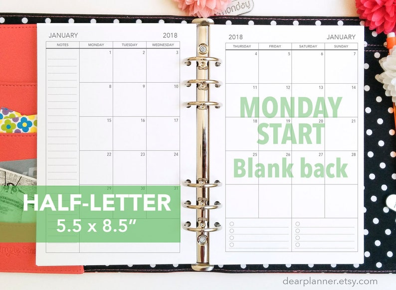 2020 December Monday Thru Friday Calendar PRINTED Mo2p BLANK back MONDAY start Month on 2 page | Etsy