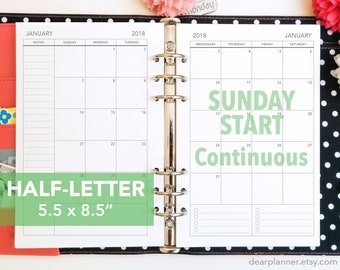 PRINTED Month on 2 page - SUNDAY start - Mo2p calendar - up to 2022 - Monthly planner insert - Half letter size - 22H