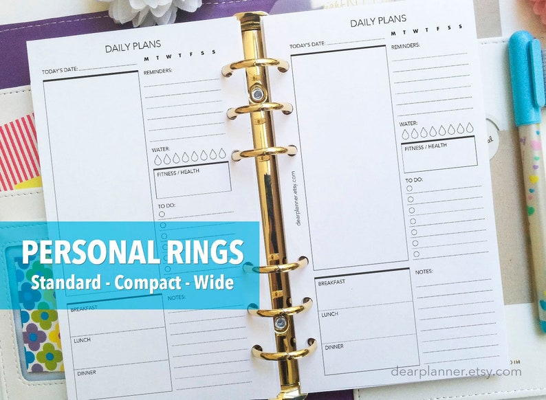 PRINTED Day on one page  Daily planner insert  Printed do1p image 0