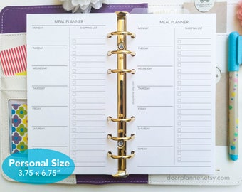 PRINTED Meal planner inserts - Weekly meal plan and shopping list - Menu planning - Food groceries planning - PERSONAL size P32