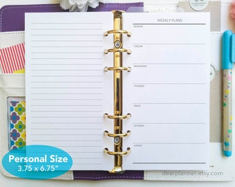 PRINTED Week on one page - Simple undated weekly planner insert - Minimalist wo1p planner insert - Personal size wo1p - P31