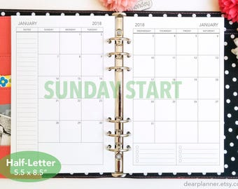 PRINTED Month on 2 page - SUNDAY start - Mo2p calendar - Dated up to December 2019 - Monthly planner insert - Half letter A5 insert - 22H