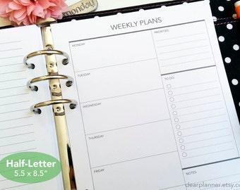 PRINTED Week on one page - Weekly planner insert - Printed wo1p planner insert - Half letter A5 insert - Planner refill - 07H